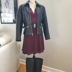 Burgundy flounce waist dress